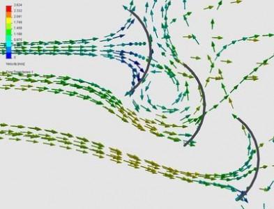 Tekančio vandens trajektorija sąveikoje su jėgainės mentimis
